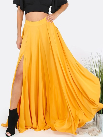 Flowing Maxi Slit Skirt MUSTARD