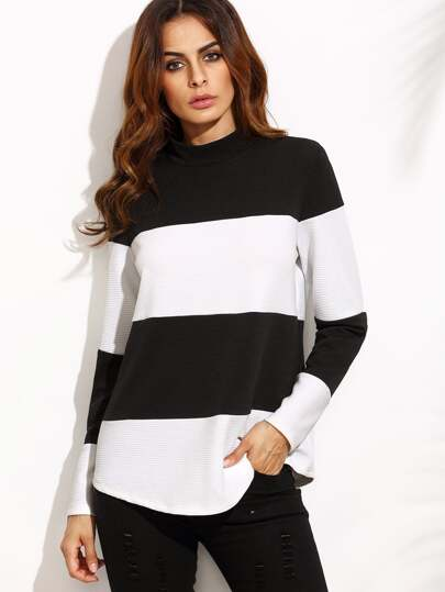 Contrast Wide Stripe Mock Neck Textured Sweatshirt