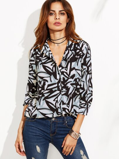 Multicolor Abstract Leaf Print Band Collar Blouse
