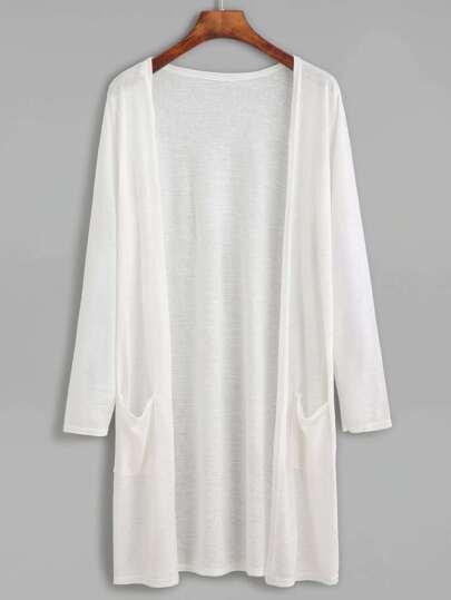 White Long Kimono With Pockets