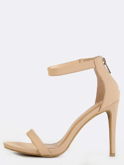 Open Toe Suede Single Sole Heels NUDE