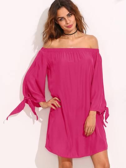Hot Pink Off The Shoulder Shift Dress