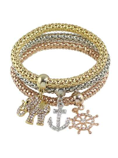 Multicolors Chain Rhinestone Anchor Elephant Charms Bracelet