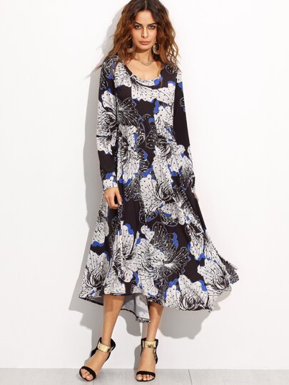 Black Floral Print Long Sleeve Asymmetrical Dress