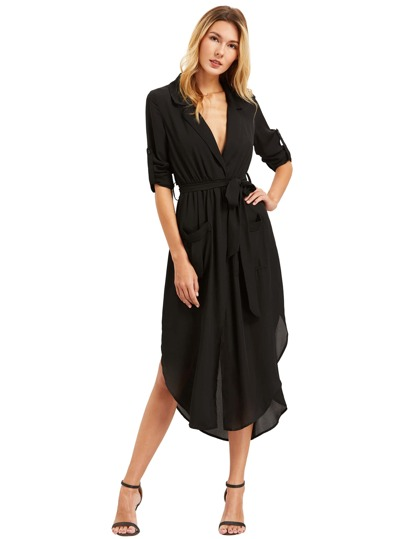 Black Lapel Self-tie HIgh Low Chiffon Dress With Pockets