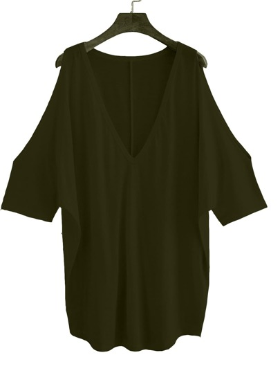 Army Green Open Shoulder Elbow Sleeve T-shirt
