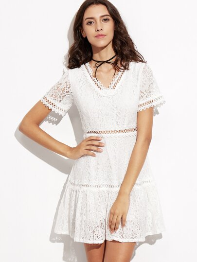 White Lace Overlay Hollow Out A-Line Dress
