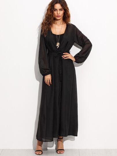 Black Self Tie Lantern Sleeve Long Kimono
