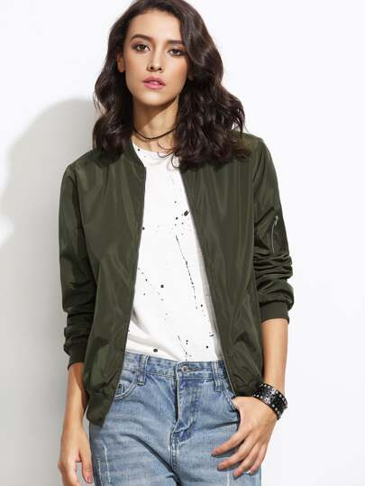 Olive Green Bomber Jacket With Arm Pocket