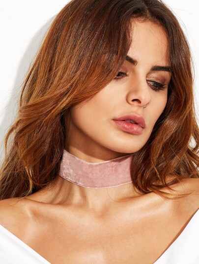 Pink Velvet Ribbon Wide Choker Necklace