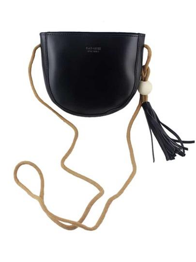 Black Vintage Style PU Leather Small Handbag For Ladies