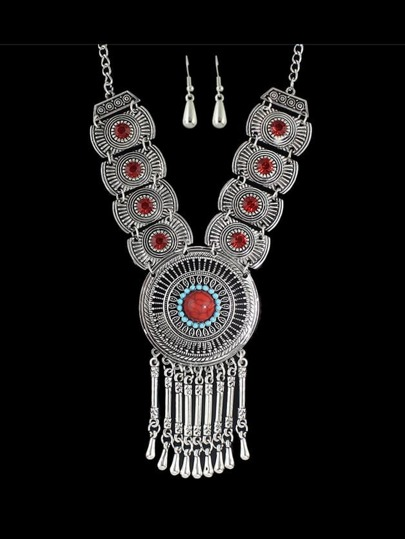 Red Costume Indian Design Rhinestone Statement Necklace Drop Earrings Set
