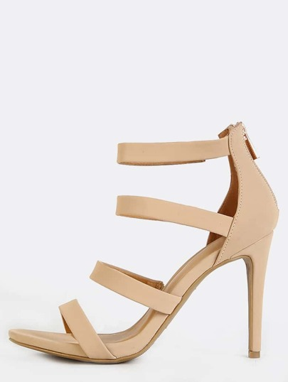 Open Toe Four Strap Heels NUDE