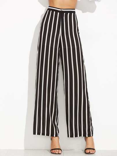 Black Vertical Striped Wide Leg Pants