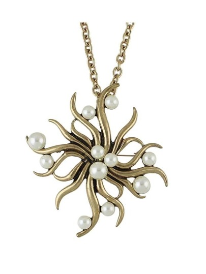 Imitation Pearl Sun Flower Big Pendant Necklace