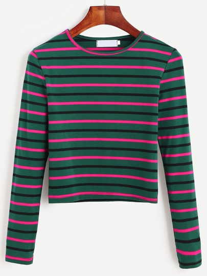 Dark Green Striped Long Sleeve T-shirt