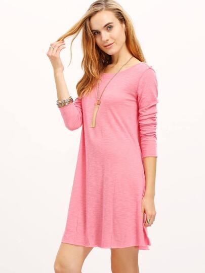 Pink Crew Neck V Cut Out Back Tshirt Dress