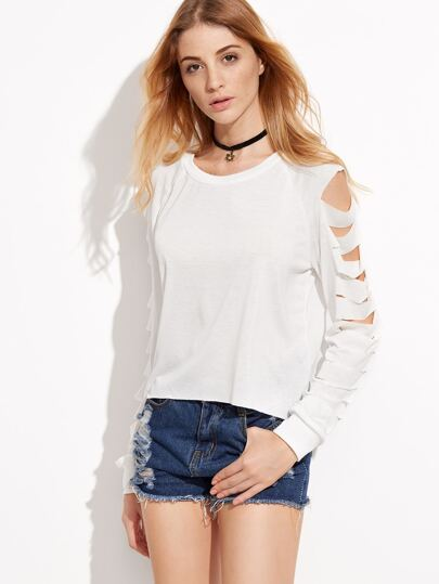 White Ladder Cut Out Sleeve Sweatshirt