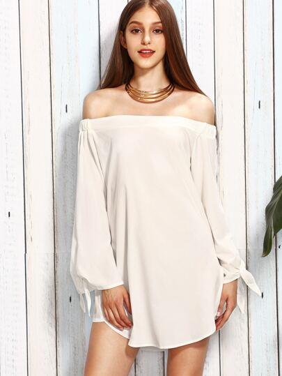 White Off The Shoulder Long Sleeve Bow Tie Dress