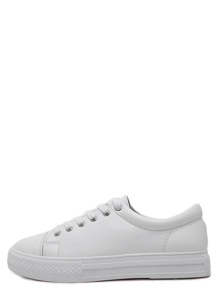 White Round Toe Lace Up Sneakers