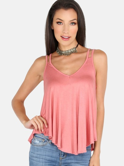 Double Strap Flow Cami Top PINK