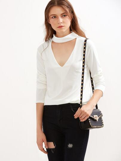 White Cutout Front T-shirt