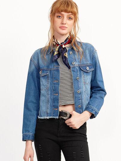 Blue Single Breasted Frayed Denim Jacket With Pocket