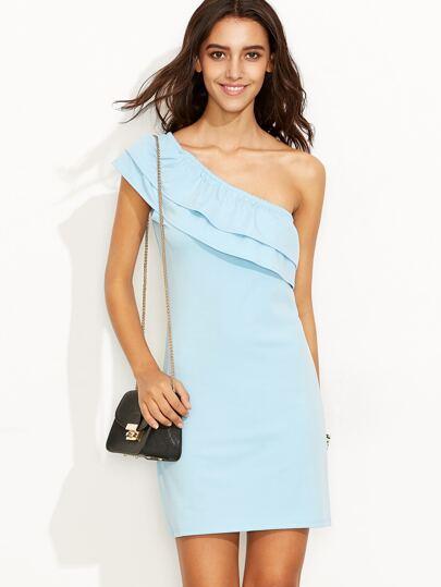 Blue One Shoulder Ruffle Sheath Dress