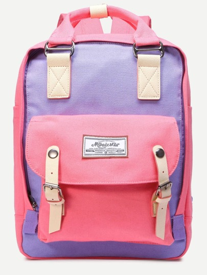 Pink Color Block Double Handle Square Canvas Backpack