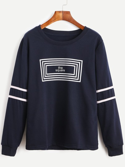 Navy Striped Letter Print Sweatshirt