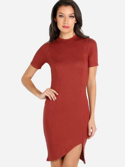 Ribbed Short Sleeve Bodycon Dress RUST