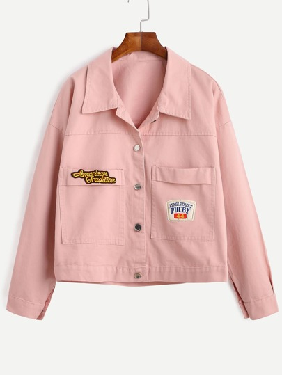 Pink Embroidered Patch Button Front Jacket