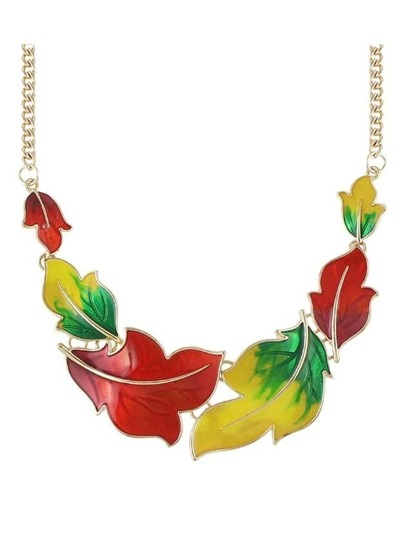 Colorful Enamel Maple Shape Statement Necklace