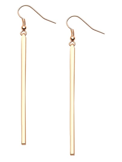 Gold Plated Long Straight Bar Drop Earrings