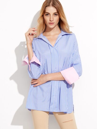Blue Vertical Striped Drop Shoulder Contrast Cuff Shirt