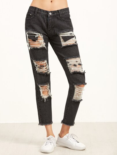 Black Ripped Frayed Hem Ankle Jeans