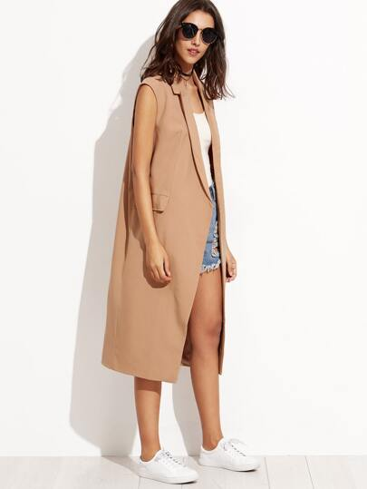 Camel Sleeveless Trench Coat
