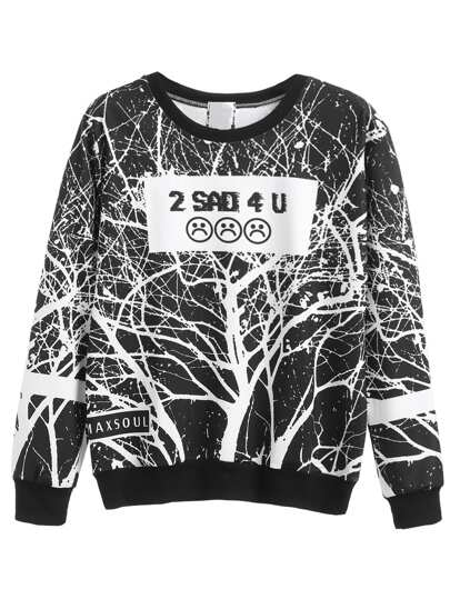 Black White Emoji Print Sweatshirt