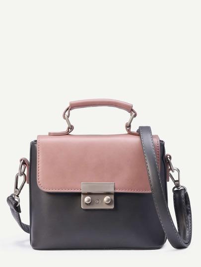 Dark Grey Contrast Flap Pushlock Closure Satchel Bag