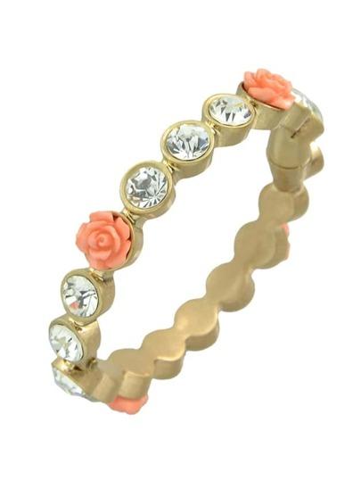 Rhinestone Resin Flower Magnetic Link Bracelet