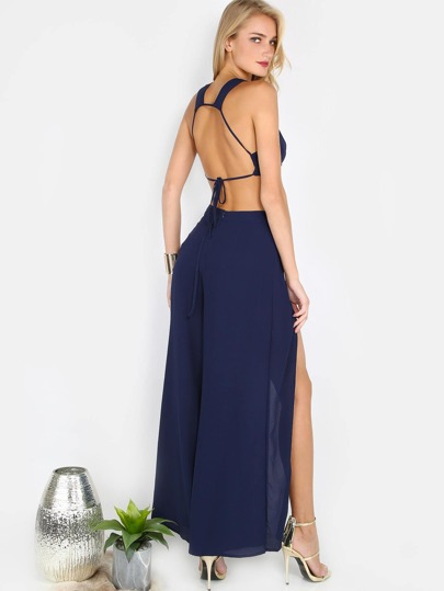Flare Slit Pants Matching Set NAVY