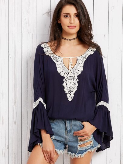 Navy Bell Sleeve Crochet Contrast Blouse