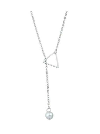 Silver Simple Imitation Pearl Adjustable Chain Necklace