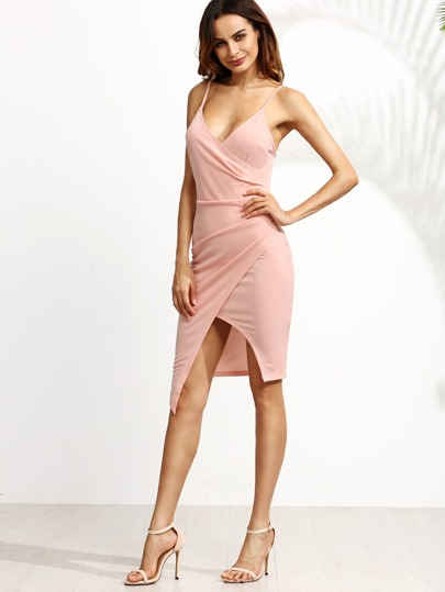 Pink Asymmetric Wrap Cami Dress