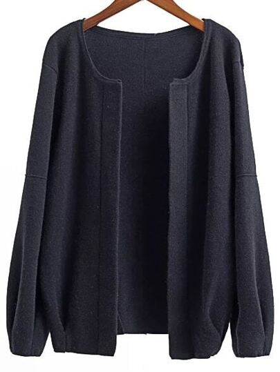 Black Open Front Drop Shoulder Loose Fit Cardigan
