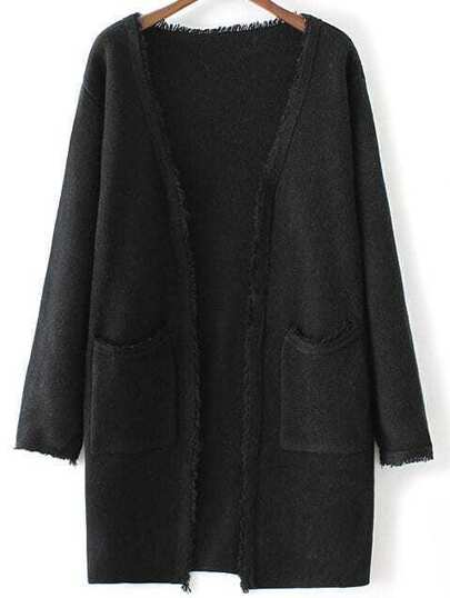 Black Collarless Frayed Cardigan With Pockets