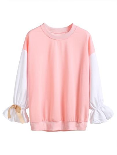 Pink Contrast Sleeve Ruffle Cuff Bows Sweatshirt