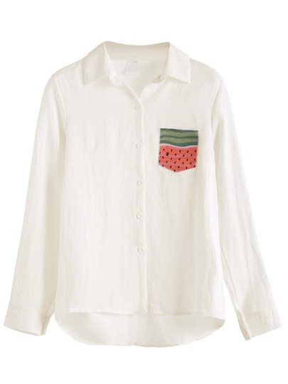 White Watermelon Embroidered Pocket Shirt