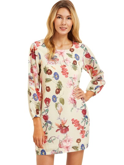 Beige Lantern Sleeve Floral Shift Dress
