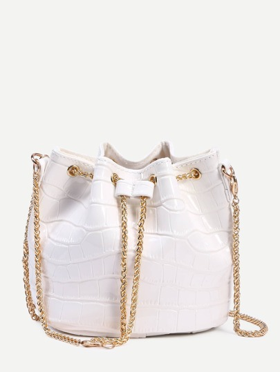 White Crocodile Embossed Faux Patent Leather Chain Bucket Bag